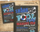 Pool party invitation - Shark invitation for pool party - DIY printable shark invitation - Shark infested pool party birthday