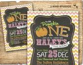 Pink Pumpkin invitation - Pink pumpkin birthday party invitation - pink chevron chalkboard invitation - printable pink pumpkin invitation