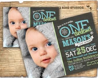 First birthday invitation - First birthday chalkboard invitation - winter ONEderland 1st birthday party invitation - Chalkboard printable