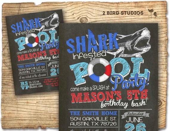 pool party invitation shark invitation for pool party diy, Party invitations