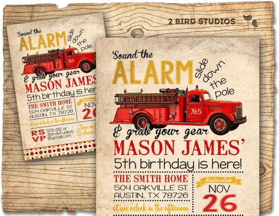 Firetruck invitation for firetruck birthday party Vintage – Firetruck Birthday Invitations