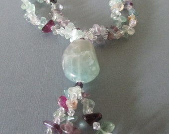 Vintage Amethyst and Jade Necklace