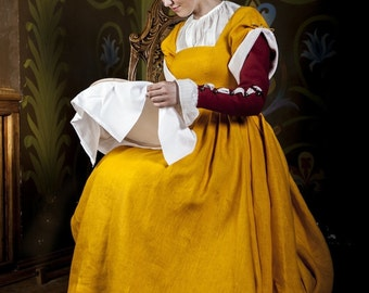 Short Sleeve Medieval Dress - Traditional Central Europe Costume XVI Century