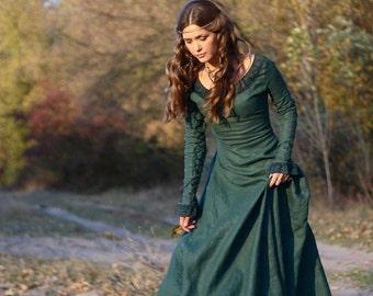 "15% OFF! DISCOUNTED PRICE! Medieval Renaissance Flax Linen Dress ""Autumn Princess"""