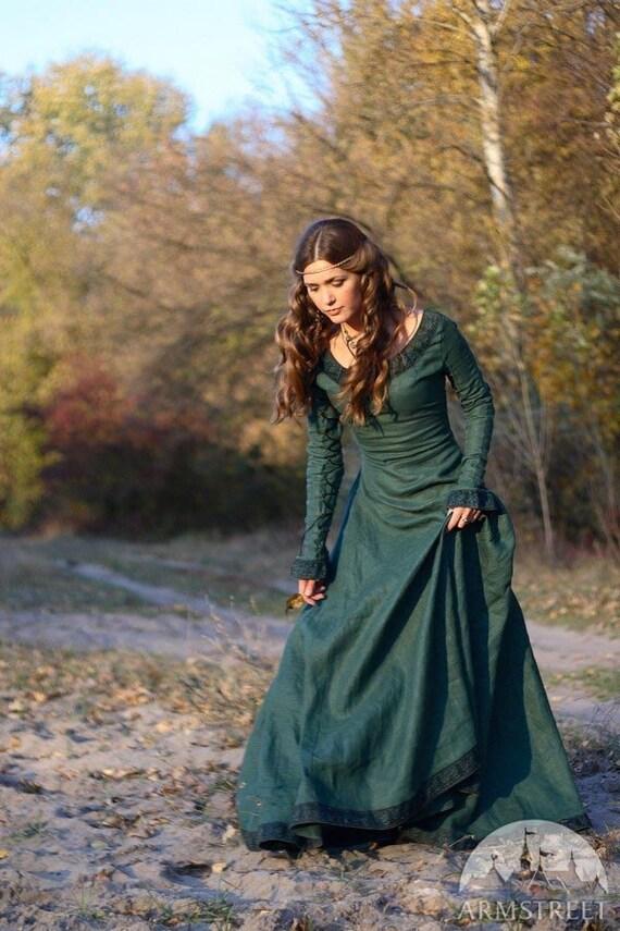 "Medieval Renaissance Flax Linen Dress ""Autumn Princess"""