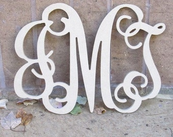 "34"" Interlocking Wooden Monogram Home Decor for Door or Wall Hanging"
