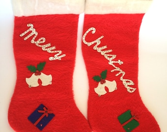 Felt Christmas Stockings Lot of 2  Merry and Christmas Kitsch