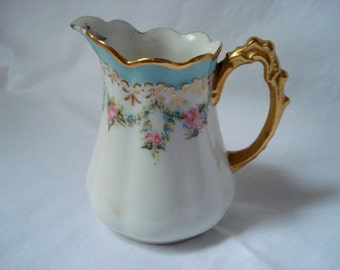 Vintage Shabby Limoges Creamer Jean Pouyat France Handpainted Pink Roses and Turquoise Vintage