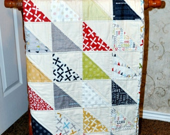 Half Square Triangle Crib Quilt Pattern for 40 by 40 inch baby quilt