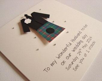 Personalised Husband Kilt Scottish Wedding Card