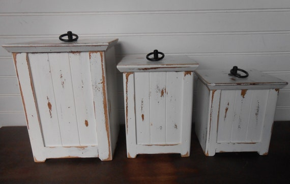 Canisters Cottage Wood Canisters  Farmhouse White Canisters Rustic