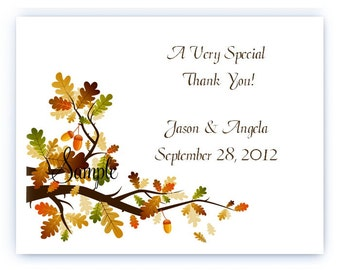 100 Personalized Custom Bridal Wedding Fall Autumn Leaves Thank You Cards and Envelopes