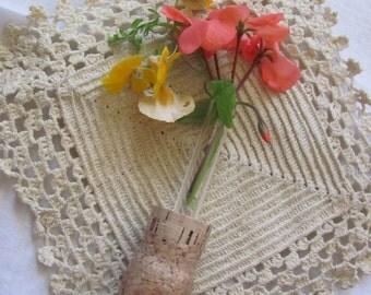 Vintage Champagne Cork Bud Flower Vase Refrigerator Magnet