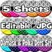 SALE Instant Download Editable Bottle Cap Image Sheet Set - Damask & Polka Dots -1 inch Circles Editable .jpg (incl 5 image sheets) SALE