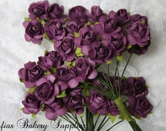 96 Dainty Paper Roses Eggplant purple, paper flower, scrapbooking flowers, wedding purple decorations, mulberry flowers, mulberry roses