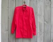Vintage shirt | Red tuxedo menswear button down dress shirt