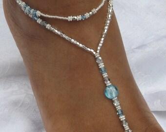 Blue Wedding Foot Jewelry Silver Beach Wedding Barefoot Sandal Destination Wedding Beach Jewelry Ankle Bracelet