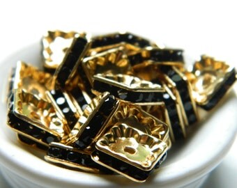 10 Rhinestone Squaredelles Spacer Beads Basketball Wives Jewelry Rondelle Rhinestone Spacers, Jewelry Findings 10mm
