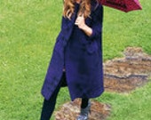 autumn coat made from natural hemp in two colors (blue and green) with silk inlet
