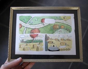 Le régime : original framed watercolor