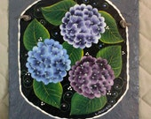Handpainted Personalized Hydrangea Spring Slate Welcome Sign