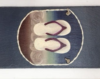 Modified Size**Handpainted Personalized medium rectangle Flip Flop Summer Beach Welcome Sign Slate