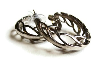 80's Earrings Silver Hoops