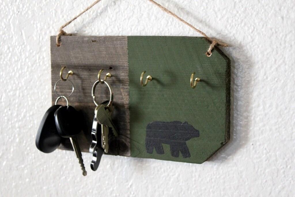 Wall Key Holder Black Bear Cabin Decor By Bessiescreations