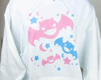 Kawaii Fairy Kei Pastel Goth Bats Womens Hoodie S Through 2XL