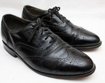 "80's Vintage ""OXFORD POLO CLUB"" Black Leather Wingtip Oxfords Sz: 9 (Men's Exclusive)"