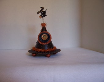 Vintage Style HALLOWEEN Candy/Gift Container- WITCH HAT with Vintage Witch