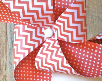 Paper Pinwheels - Orange Chevron  -Set of 4