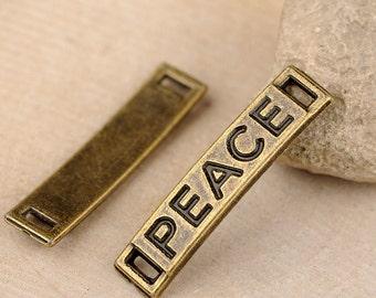 20pcs 6x28mm Antique Bronze Lovely Thick Letter Peace Connector Link  Charms Pendant Jewelry Supplies DIY Drops JM 0408