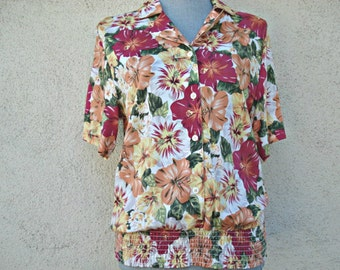 Vintage Woman's Top, Blouse Ladies Clothes, Woman's Spring Clothing, Laura & Jayne, 100% Rayon, Vintage,
