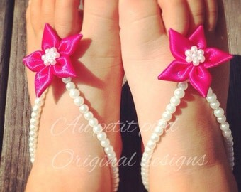 SALE Pink flower baby barefoot sandals, baby foot jewelry, newborn barefoot sandals, baby photo prop