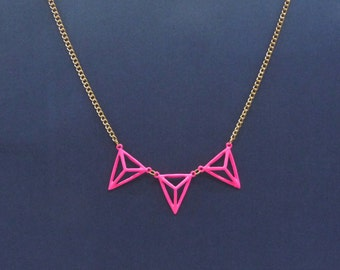 Hot pink triangle necklace, geometric necklace,enamel pyramid pendant, triangle pendant, gold necklace