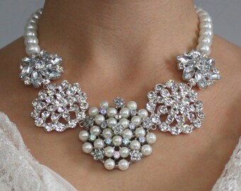Bridal Pearl Necklace - Statement Necklace - Pearl Brooch - White Pearl Necklace