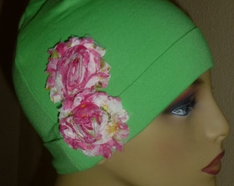 Lime Green Cottin Knit Chemo Hat with Pink Print Shabby Chic type flowers, Girls Lime Green Cotton Chemo Hat