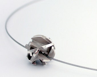 Geometric 3D printed necklace with sterling silver ball pendant on stainless steel cable - Negative/Positive necklace