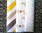 Muslin Swaddle Blanket- 40in x 40in - Owl/Chevron - Monogramming Available