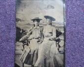 Tintype Studio Photograph 1900s Women in Hats