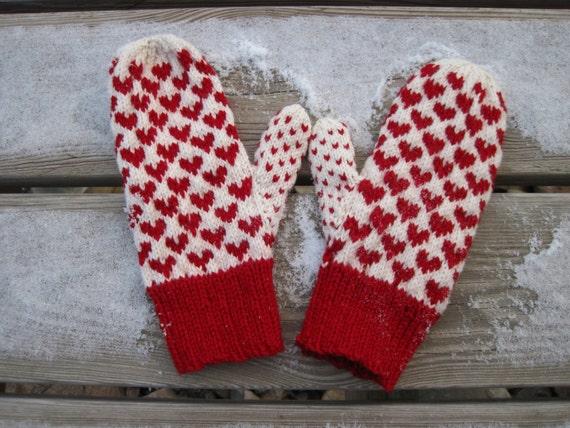 Double Knitting Heart Pattern : Wool Heart Mittens Double Knit Red Heart Pattern on White