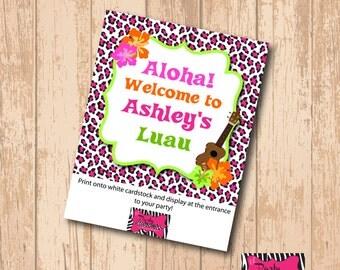 DIY Printable Luau party welcome sign