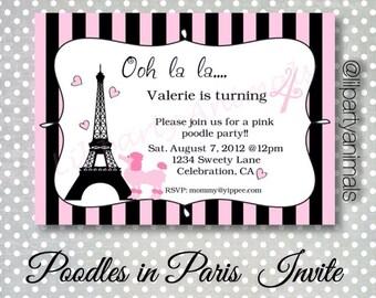 DIY Printable Pink Poodle Party Invite