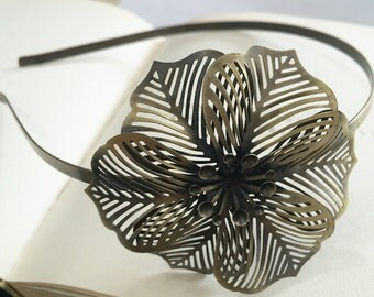 2pcs 68x62mm Floral headband  Antique Bronze Filigree metal Headband