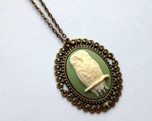 Owl Cameo Necklace on Vintage Bronze Tone Necklace - Green, Unique Jewelry