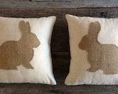 Burlap Rabbit Pillow, Cotton Muslin Pillow, Easter Pillow, Bunny Pillow, Rabbit Pillow,