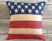 "20"" Patriotic Burlap Pillow, Flag Pillow,4th of July Pillow,Burlap Pillow, Stars and Stripe Pillow, Entry Way Pillow, Front Porch"