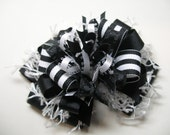 Hair Bow Black and White Unique Big Boutique Toddler Girl Korkers School Uniform Handmade
