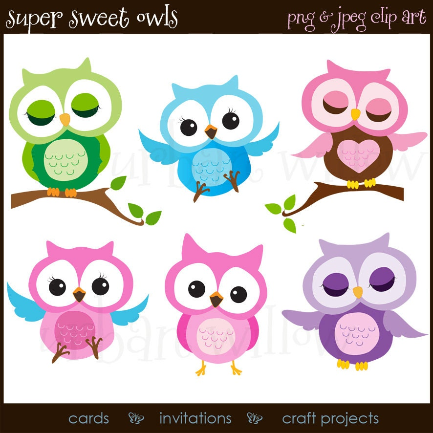 Clipart Owls Cute Owl Clipart Purple and Pink Owls Funny